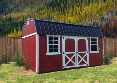 Red Storage Barn With Metal Roof